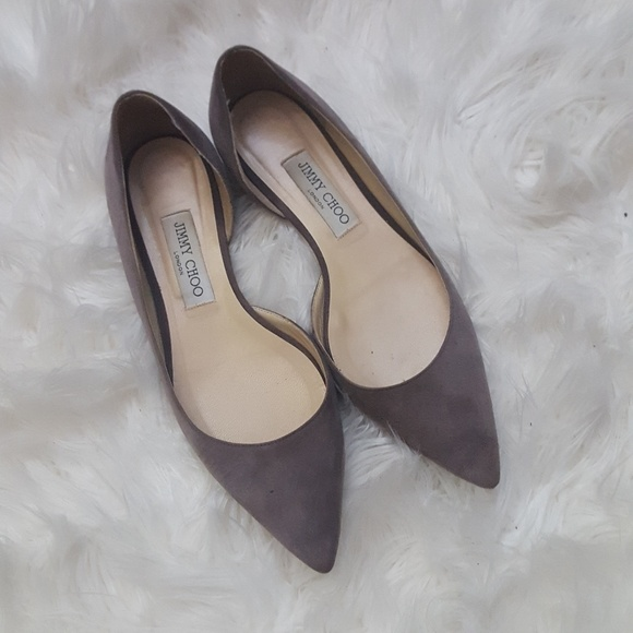 efe90d79f73 Jimmy Choo Shoes - JIMMY CHOO Grey Suede Pointed Toe Flats 38.5